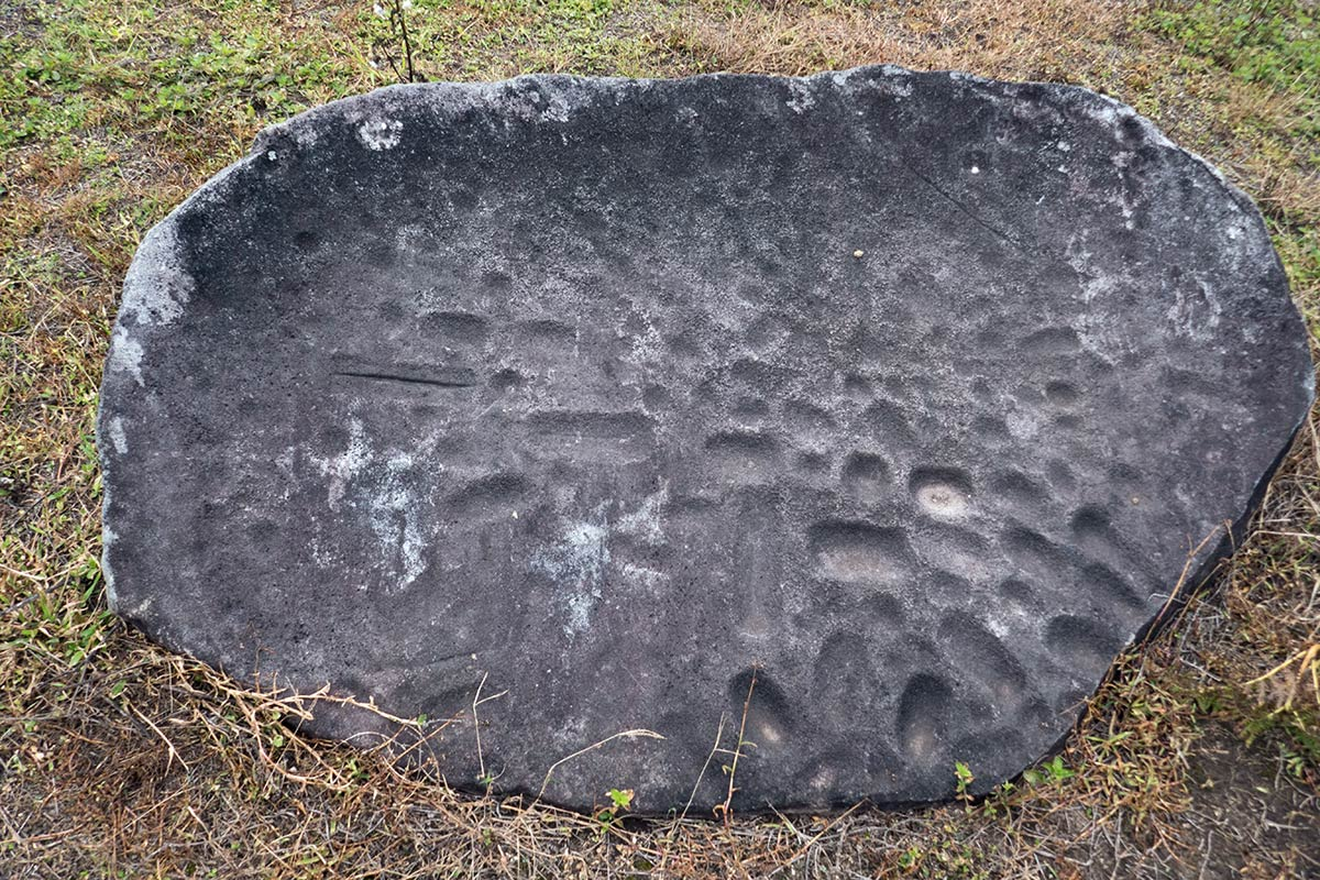 Large stone with cup markings, near Hanggira village, Besoa Valley